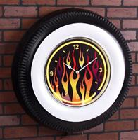 """Giant Flamed Vintage Neon Wheel Clock"""