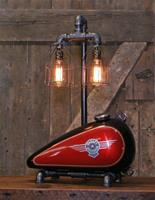 "01A ""Steampunk Industrial, Original Motorcycle H-D Gas Tank Lamp"""