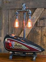 "01D ""Steampunk Industrial, 1930's Indian Scout Gas Tank Lamp"""