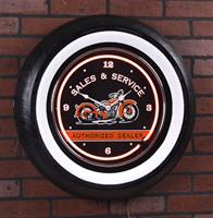 """Motorcycle Giant Vintage Neon Wheel Clock"""