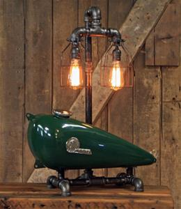 "01 ""Steampunk Industrial, 1930's Indian Scout Gas Tank Lamp"""
