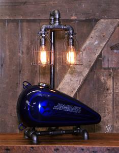 "01 ""Steampunk Industrial, Original Motorcycle H-D Gas Tank Lamp"