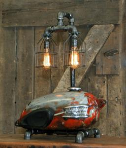 "01 ""Steampunk Industrial, Antique Triumph, Authentic Motorcycle Tank Lamp"