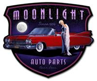 """Moonlight Auto Parts Metal Sign"""
